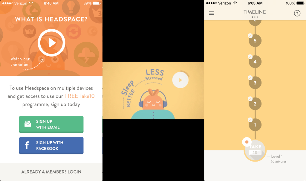 Login screen, sample video and the main timeline in Headspace